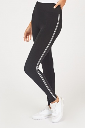 Metallic Striped Side Sports Leggings