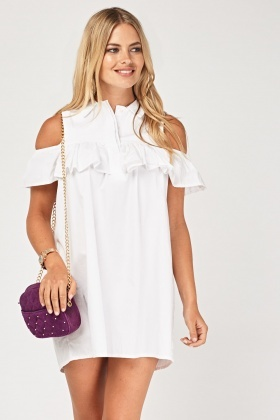 Ruffle Overlay Mini Shirt Dress