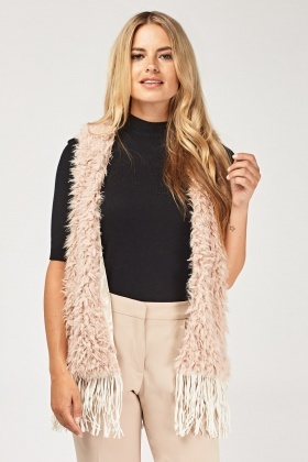 Teddy Bear Fur Tasselled Gilet
