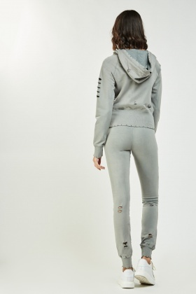 Zip Up Ripped Hoodie And Joggers Set
