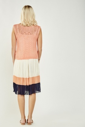 Crochet Overlay Pleated Stripe Dress