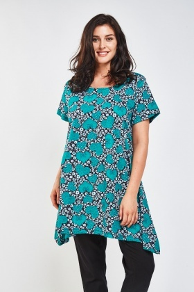 Mixed Heart Print Asymmetric Top