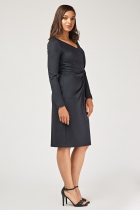 Ruched Front Midi Pencil Dress