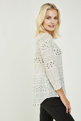 Star Print Sheer Blouse