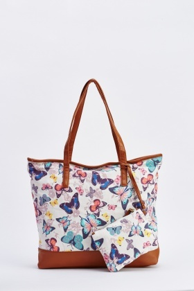 Contrasted Butterfly Print Tote Bag