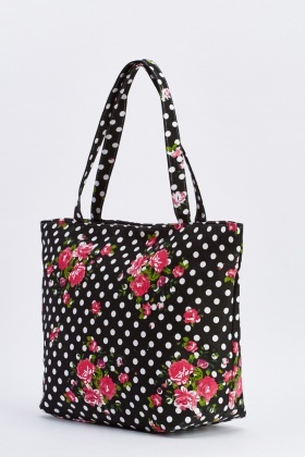 Contrasted Large Shopper Tote Bag