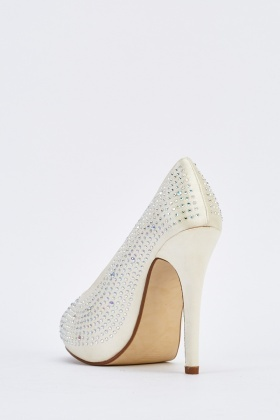 Encrusted Sateen Peep Toe Heels