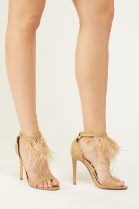 Feather Ankle Strap Heeled Sandals