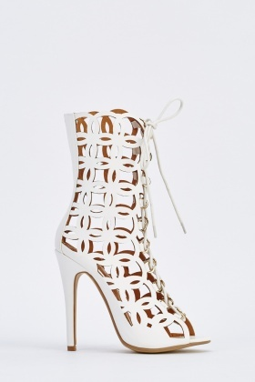 Laser Cut Heeled Lace Up Shoes