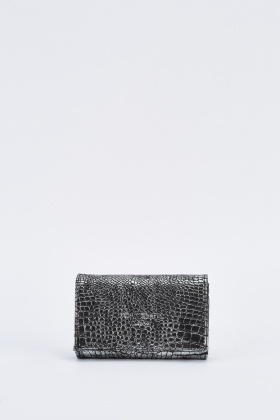 Metallic Mock Croc Purse