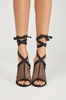 Tie Up Fishnet Heeled Sandals