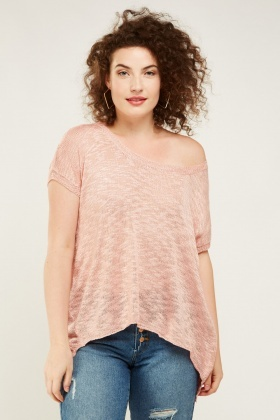 Knitted Cold Shoulder Speckled Top