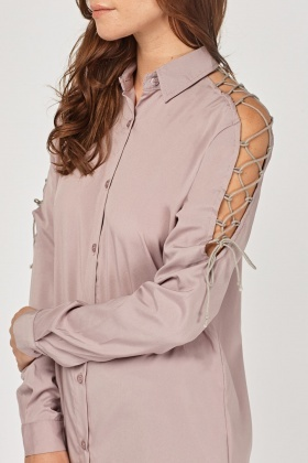 Lace Up Sleeve Long Shirt