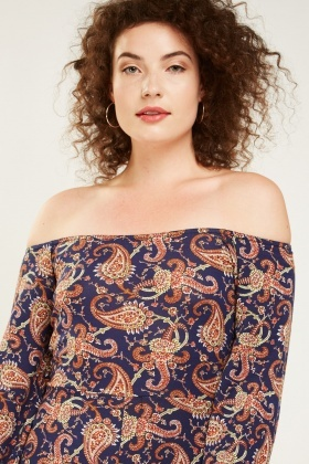 Off Shoulder Paisley Print Playsuit
