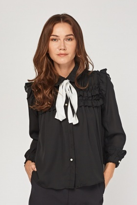 Ruched Gathered Sheer Blouse