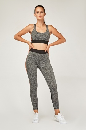 Sports Speckled Crop Top And Leggings Set