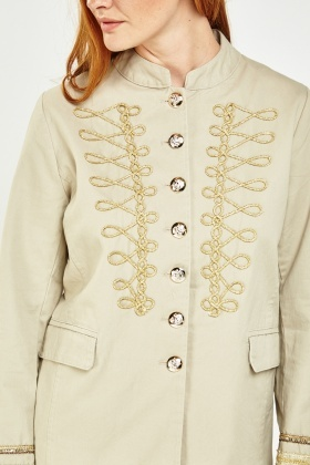 Brocade Trim Military Jacket
