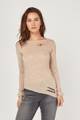 Cut Out Basic Speckled Top