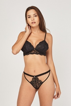 Cut Out Black Bra And Thong Set