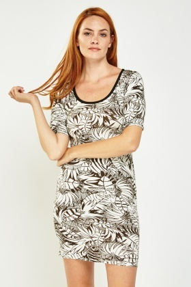 Leaf Printed Bodycon Dress