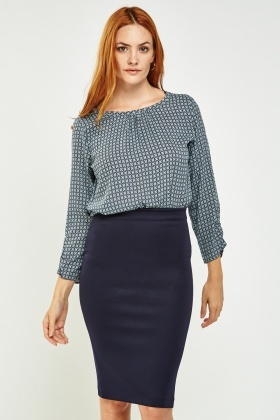 Printed Ruched Sleeve Blouse