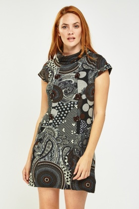 Printed Slouchy Neck Shift Dress