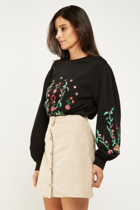 Botanical Floral Embroidered Sweatshirt