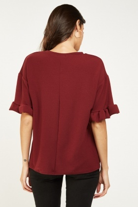 Butterfly Pint Ruffle Sleeve Top