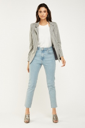 Lapel Front Plaid Blazer