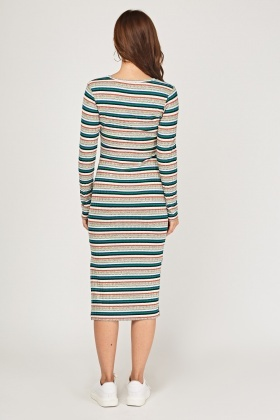 Multi-Striped Midi Rib Dress