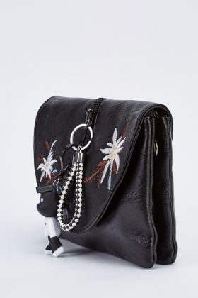 Embroidered Key-Ring Trim Clutch Bag