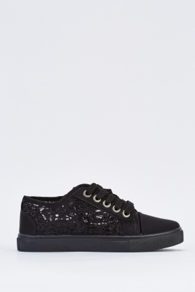 Embroidered Lace Overlay Plimsolls