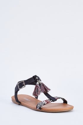 Embroidered Tassel Trim Sandals