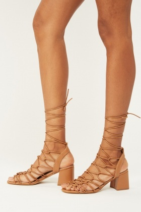 Lace Up Faux Leather Sandals