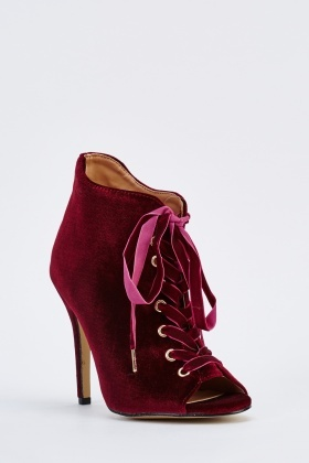 Lace Up Velveteen Ankle Boots