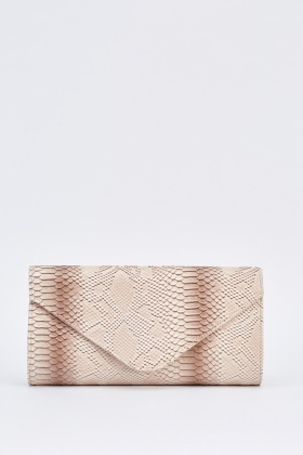 Snake Skin Textured Clutch Bag