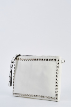 Studded Faux Leather Clutch Bag