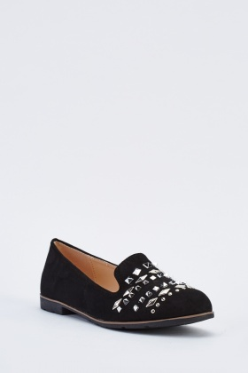 Studded Suedette Slip On Loafers