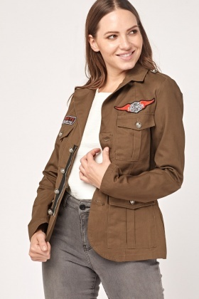 Embroidered Patch Trim Military Blazer