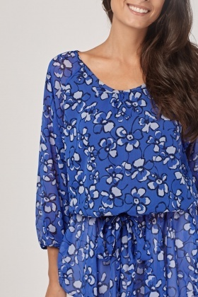 Floral Sheer Tunic Blouse