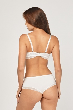 Lace Overlay Balconette Bra And Brief Set
