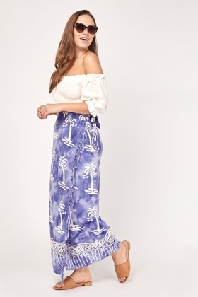 Palm Tree Print Maxi Wrap Skirt