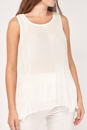 Pleated Sheer Shell Top
