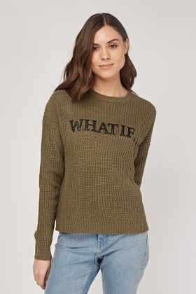 Applique Front Knitted Sweater