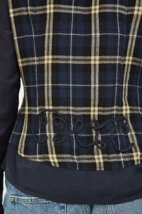 Contrasted Long Sleeve Plaid Shirt