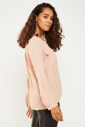 81339e18533d10 Long Sleeve Sheer Blouse - Just £5