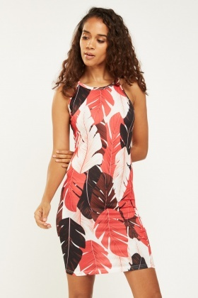 Multi Leaf Print Bodycon Dress