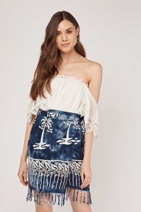 Palm Tie Dye Fringed Wrap Skirt