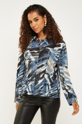 Textured Camouflage Print Shirt