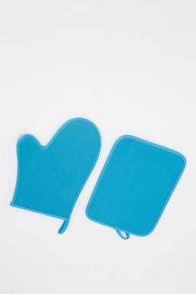 Blue Oven Mitt And Pot Holder Set